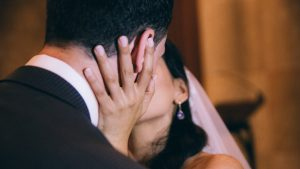 bride-wedding-couple-kiss-three-swans-hotel-market-harborough