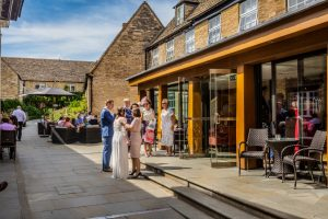 Talbot Exterior Passage Courtyard with Bride and Groom 2